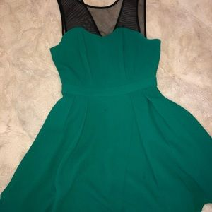 Mini Teal Cocktail Dress with Sheer Cutouts
